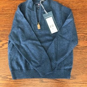 NWT vineyard vines Blue 1/4 zip sweater 3T